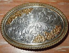 L@@K! WESTERN SILVER PLATE AWARD DESIGNS BELT BUCKLE USA MADE NOBLE OKLAHOMA