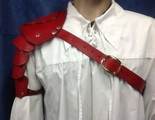 Red Leather Single Shoulder Armor Pauldron Cosplay Steampunk Theater Stage TV bb