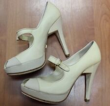 L.A.M.B. Ivory Mary Jane Peep Toe Pumps Heels Shoes 7 M