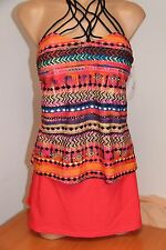 NWT Island Escape Swimsuit Tankini 2pc Set Sz 12 14 Macrame  skirt Coral