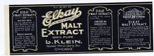 Elkay, malt extract, can label,  pacific coast fruit, L Klein, chicago