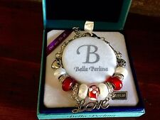 Bella Perlina Charm Bead Bracelet - Dark Reds with Love Charm- NIB