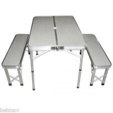 Picnic Camping Table and Xtype Chairs Set (Silver)