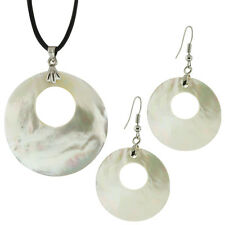 "White Mother of Pearl Pendant Shell Earrings Set With 16"" Leather Necklace"