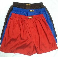 3 THAI SILK BOXER SHORTS SLEEPWEAR PANTS BOXERS XXL 2XL UNDERWEAR BLACK BLUE