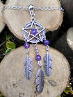 DreamCatcher silver Dragons Vein Agate Purple Feather Pentagram Choker/Necklace