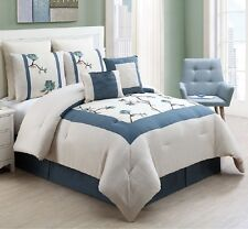 Luxurious 8 Piece Comforter Set Bed in a Bag King Size Bedroom Bedding Blue New