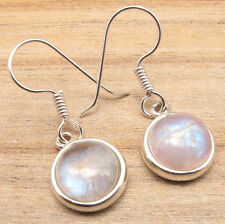 """925 Silver Overlay RAINBOW MOONSTONE LOW SHIPPING RATES Unseen Earrings 1 1/4 """""""