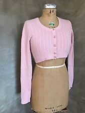 BENETTON ITALY CASHMERE Cropped Cardigan Sweater BLUSH PINK Peachy Flesh S/M