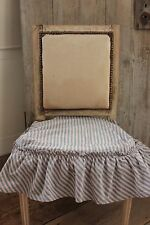 Antique French striped chair seat cover ruffle blue stripes