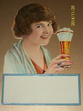 GIRL Die Cut CALENDAR ART 1915 NOS ICE CREAM SODA Fountain Glass BOSTON COOLER