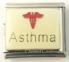 Asthma Asthmatic Caduceus Medical Alert 9mm Italian Charm 18mm Mega Link