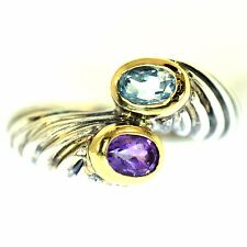 1 CT AMETHYST & BLUE TOPAZ CABLE RING 14K YELLOW GOLD & STERLING SILVER BAND