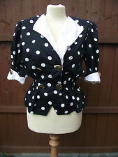 Vintage Blouse 1980's Black and White Spotted Top size 12-14 Horst Basler
