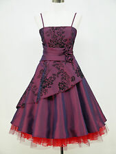 dress190 PLUS SIZE PURPLE 50s FLOCK TATTOO ROCKABILLY COCKTAIL PROM DRESS 24-26