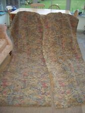 "Vintage antique shabby chic curtains,dark heavy floral tapestry, each 70"" W,96""L"