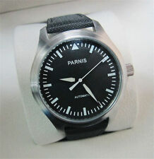 Casual 42mm Parnis Luminous Black Dial Stainless Steel Case Automatic Men Watch