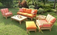 6 PC LARGE TEAK WOOD GARDEN INDOOR OUTDOOR PATIO SOFA SET FURNITURE POOL - ATNAS