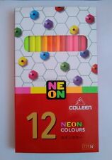 new COLLEEN NEON Colour Pencil Set Art Drawings 12 Colors Non-toxic Kid school