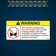 RS4 Twin Turbo Engine Warning No Bra Self Adhesive Sticker Decal