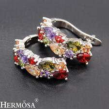 925 Sterling Silver Nice Red Garnet Amethyst Peridot Honey Topaz Earrings, 6410