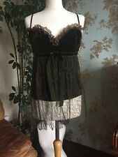 Red Valentino Rich Green Velvet And Lace Top Bnwt