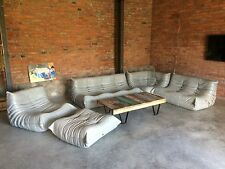 Ligne Roset TOGO Set 1x3,1x2,1 Seat, corner, pouffe, new grey/coffee Leather!
