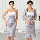 PLUS SZ Free Jacket Mother of the Bride Outfit Wedding Party MIDI SLIM FIT Dress