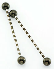 "Pair 14g 1.5"" striped black titanium industrial barbell cartilage piercing"