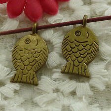 free ship 120 pieces bronze plated fish charms 25x14mm #3110