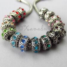 2PCs European Birthstone Beads Set - Large Hole Spacers - 15 Colors Available
