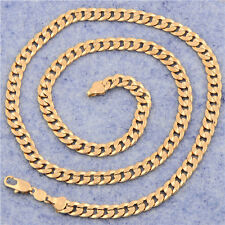 Man 18K Yellow Gold Plated Real Genuine Curb link Chain 7mm thick Necklace