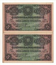 MOZAMBIQUE PORTUGAL 2 X 5 POUNDS 1934 PICK R 32 RUNNING NUMBERS LOOK SCANS