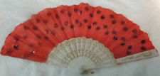 chinese folding hand fan, summer sequin flower red, red fan elegant #51