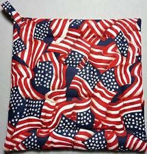 Deluxe Hot Pad / Pot Holder: LOVE THE FLAG!/ Red/ White and Blue:  Quilted
