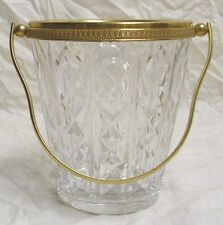 VAL ST. LAMBERT OF BELGIUM HAND CUT CRYSTAL ICE BUCKET WITH GILDED GOLD TRIM