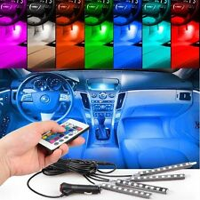 4PC 7Color 5050 LED Interior Neon Light Strip + Remote + Adapter Kit For All Car