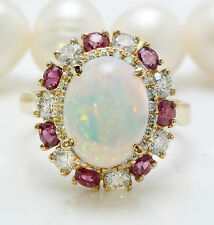 3.66 CTW Natural Ethiopian Opal Ruby and Diamonds in 14K Solid Yellow Gold Ring
