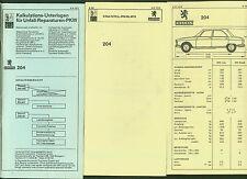 Peugeot 204 DAT Unterlagen Reparaturen Ersatzteil Ausstattung Preisliste 1979/80