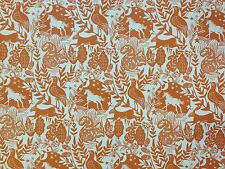 STUDIO G BY CLARKE AND CLARKE WESTONBIRT SPICE ORANGE BIRD COTTON CURTAIN FABRIC