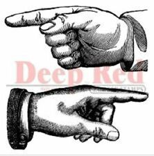 Deep Red Rubber Cling Stamp Point the Way fingers & hand