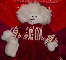 MRS. SNOWMAN * WEARING RED/WINE CANDY STRIPE DRESS/HAT **CUTE * 18 INCHES ** NEW