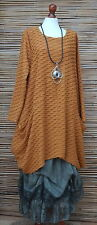LAGENLOOK OVERSIZE*MB GERMANY*QUIRKY WAFFLE EFFECT TUNIC*MUSTARD*SIZE 3 XXL-XXXL