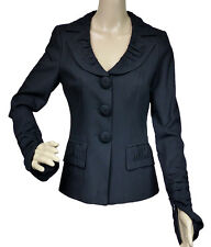Nanette Lepore Black Blazer Jacket Size 4 Long Sleeves Zip Cuffs Exe Condition