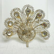 Sterling Silver 925 Vintage Estate PEACOCK with Rhinestones Pin or Brooch