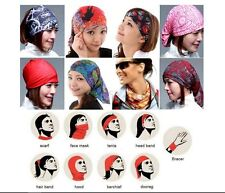 2 x Head Face Mask Tube Bandana, Scarf Snood Cap Headband UV free POL MICROFIBER