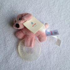NWT Gund baby spunky teether pink puppy plush 058979