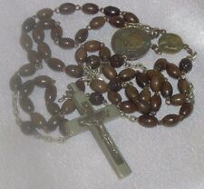 ANTIQUE BROWN BEAD CARVED FLOWERS SAINT ANNE ANNO SANTO 1950 PONT MAX ROSARY