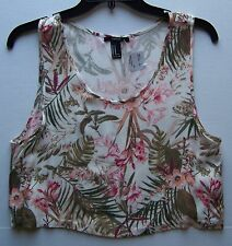 Forever 21 Sleeveless 100% Rayon Cream Blush Crop Top ~ M NWT!