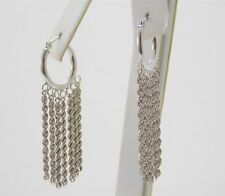 14K White Gold Hanging Rope Chain from Hoop Dangle Earrings DA0219